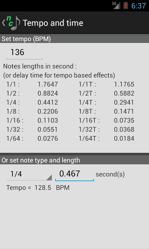 Note Converter with Tap Tempo - screenshot