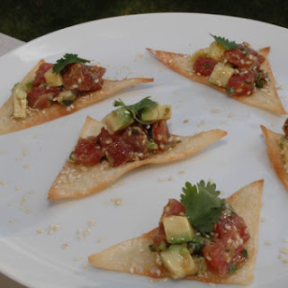 Ahi Tuna Tartare on Sesame Wonton Crisps.