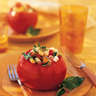 Stuffed Tomatoes with Peaches, Corn, Cucumbers, and Basil