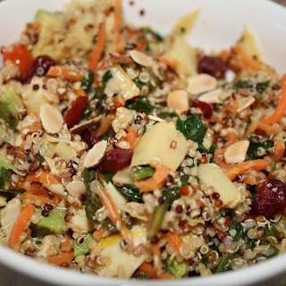 Tri Color Quinoa Salad with Veggies, Avocado, Cranberries & Almonds