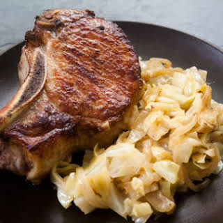 Pork Chops with Braised Cabbage.