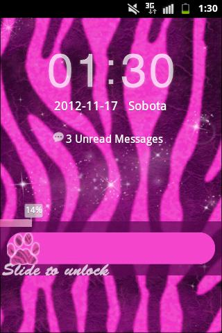 Pink Zebra Theme GO Locker- screenshot