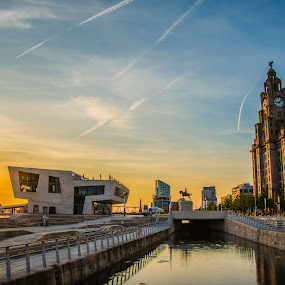 Pier Head, Liverpool by Aiden Ogden - City,  Street & Park  Historic Districts ( skyline, sky, color, colors, sunset, cityscape, city )