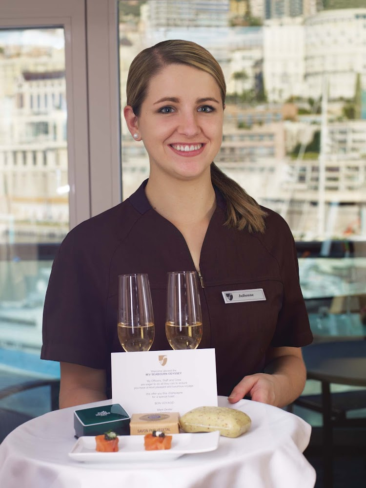 You'll be welcomed with a smile and complimentary glasses of champagne upon arriving for your Seabourn cruise.