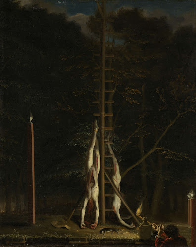 The mutilated bodies of the De Witt brothers, hanging at Groene Zoodje in  The Hague