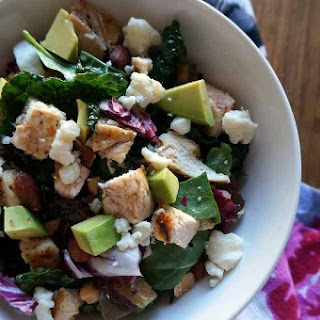 Chicken and Kale Salad with Dates, Blue Cheese and Avocado