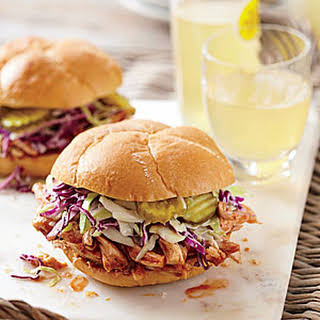 BBQ Chicken Sandwiches with Pickle Juice Slaw.