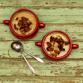Slow Cooker Potato Leek Soup with Bacon Croutons.