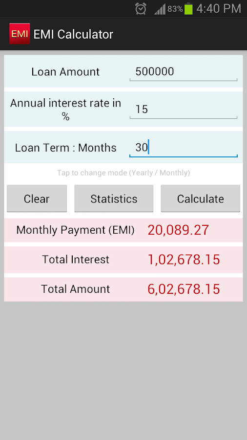 EMI Calculator SBI,HDFC,ICICI - screenshot