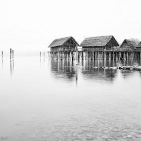 Lake dwellings by Kai Süselbeck - Black & White Buildings & Architecture ( fineart, lake dwellings, silence, bodensee )