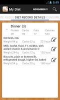 Screenshot of Diet Calories Vitamins Counter