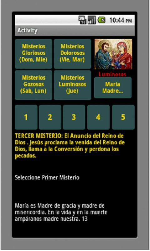 Santo Rosario: captura de pantalla