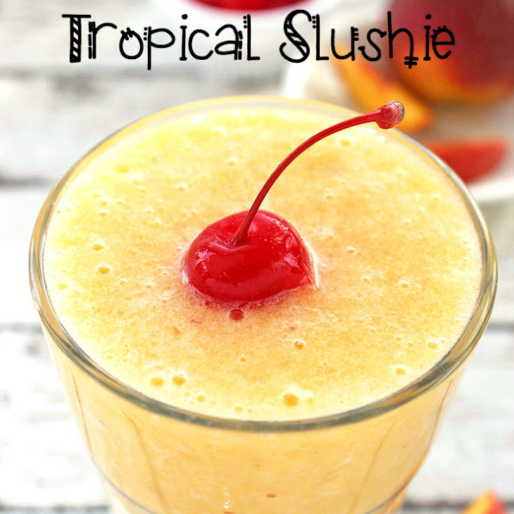 Peach and Pineapple Tropical Slushie