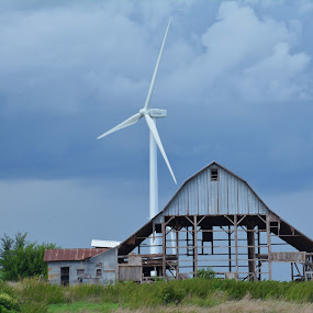 Old & New by Amy Laskye - Buildings & Architecture Decaying & Abandoned ( clouds, barn, windmill )