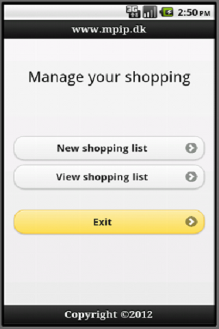 Shopping list manages