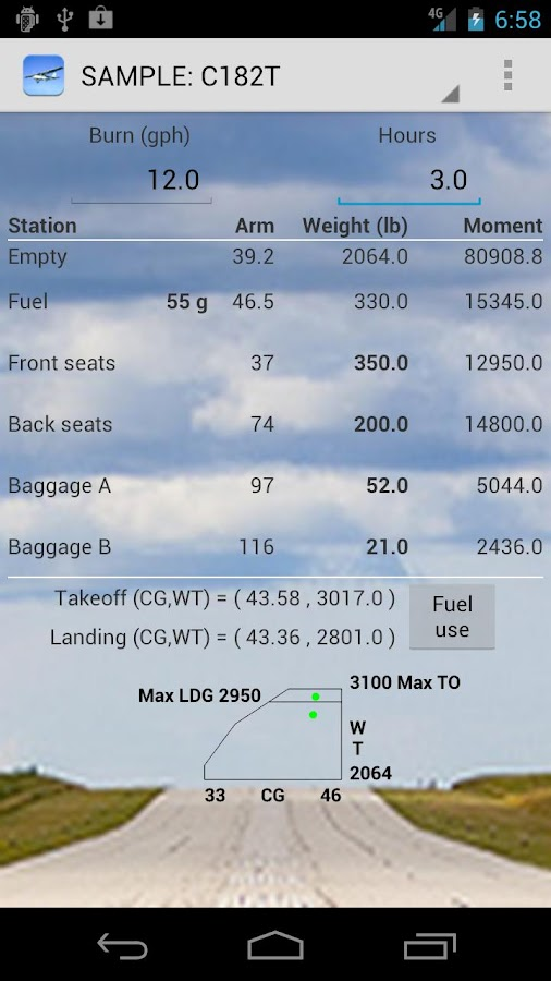 Aircraft Weight & Balance - screenshot