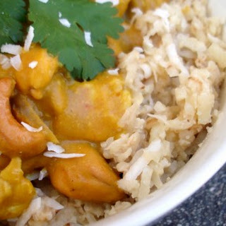 Pumpkin Cashew Coconut Curry over Coconut Rice.