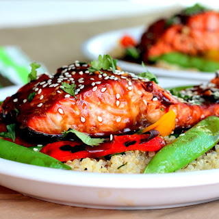 Sesame Ginger Sweet Teriyaki Salmon with Garlic Quinoa Stir-fry.