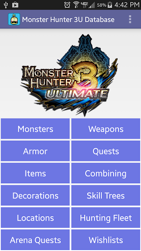 Monster Hunter 3U Database