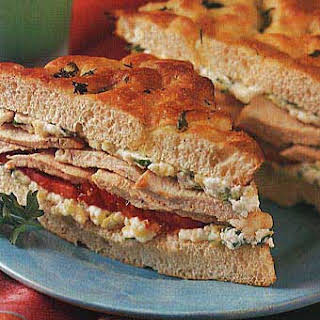 Roasted Chicken, Zucchini, and Ricotta Sandwiches on Focaccia.