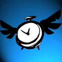 Flying alarm clock icon