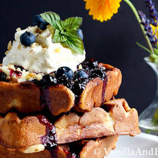 Nutty Whole Grain Waffles with Blueberry Compote.