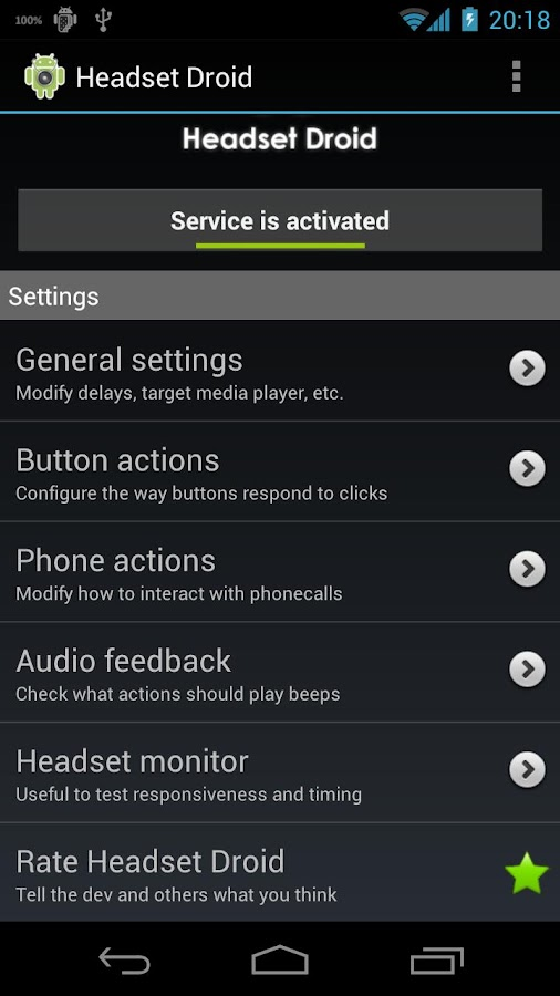 Headset Droid Trial - screenshot