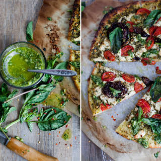 Sun Dried Tomato Pizza & Goat Cheese Salsa Verde.