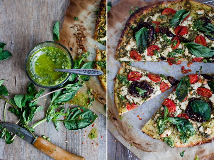 Sun Dried Tomato Pizza & Goat Cheese Salsa Verde Recipe