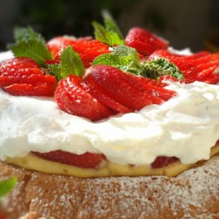 Strawberry Custard Mary Ann Cake with Whipped Cream