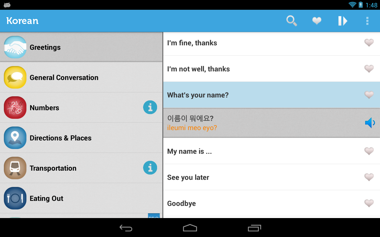 Learn Korean Phrasebook- screenshot