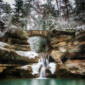 January at Upper Falls by Jim Crotty - Landscapes Caves & Formations ( ohio nature photography, winter, rock formations, nature, ohio, jim crotty, waterfall, hocking hills, old mans cave )