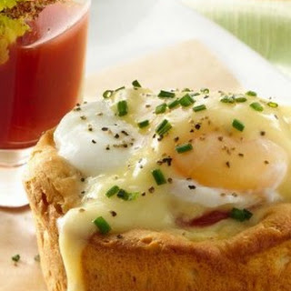 Easter Brunch Eggs Benedict Biscuit Cups with Bloody Mary Shooters