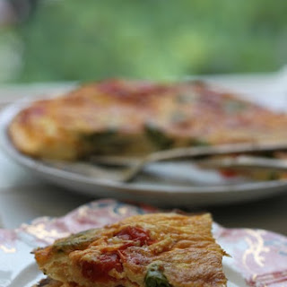 Ricotta Frittata with Tomatoes & Fiddleheads