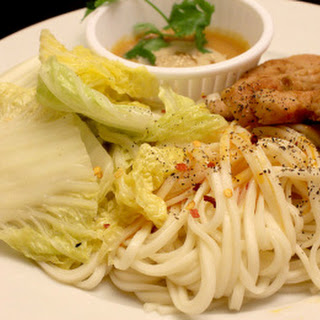 Honey BBQ Pork Strips with Napa Cabbage and Peanut Noodles.