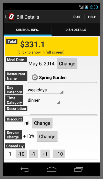 Meal Cost- screenshot