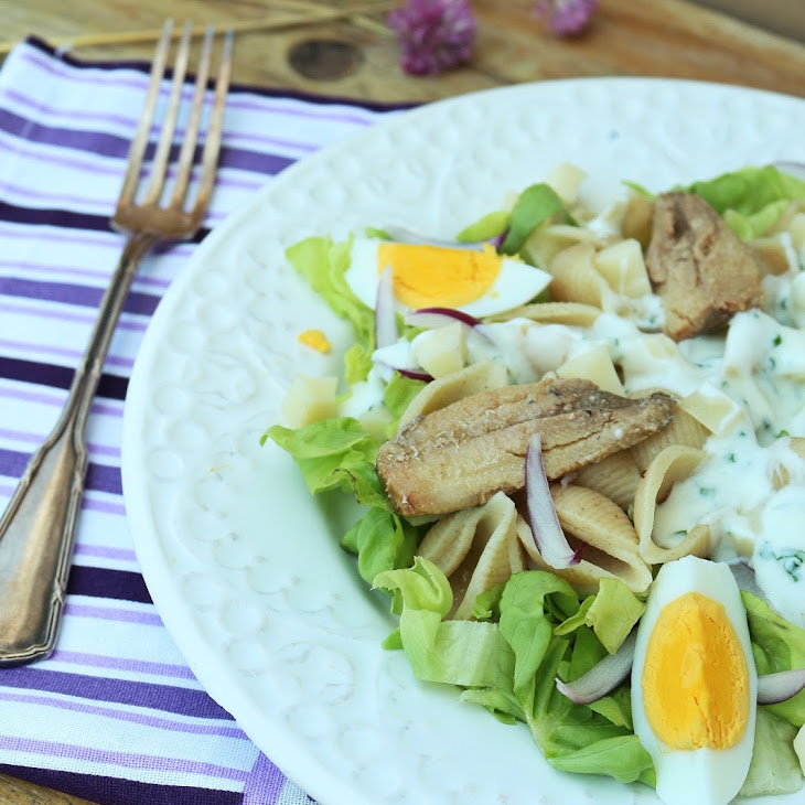Pasta Shell Salad with Sardine Fillets