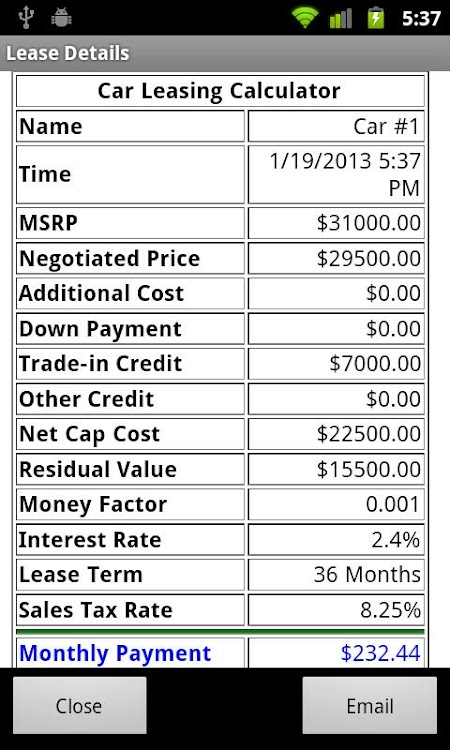 Lease Payment Calculator >> Car Lease Calculator Free Android Apps Appagg