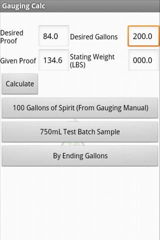 Spirits Gauging Calculator- screenshot
