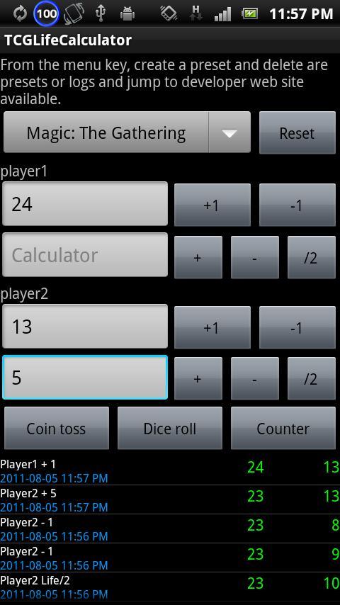 TCGLifeCalculator- screenshot