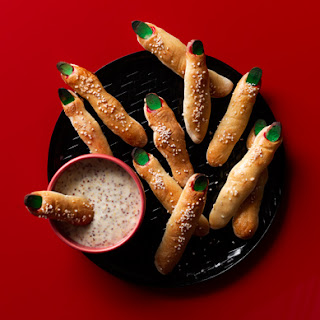 Witch's Finger Bread Sticks with Maple Mustard Dip