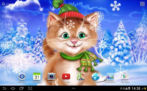 Зимний Котенок Живые Обои для планшетов на Android