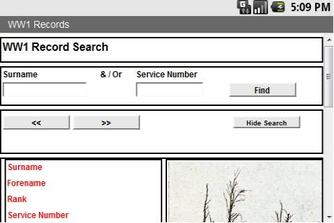 WW1 Search - screenshot