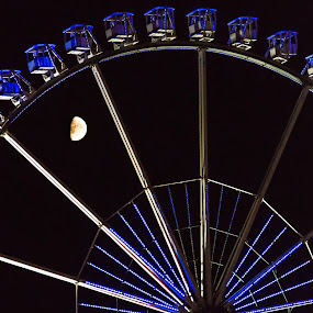 Moon in Hamburg by Franco Beccari - City,  Street & Park  Amusement Parks ( funfair, moon, amusement park, night, fun, light, hamburg, ferris wheel,  )