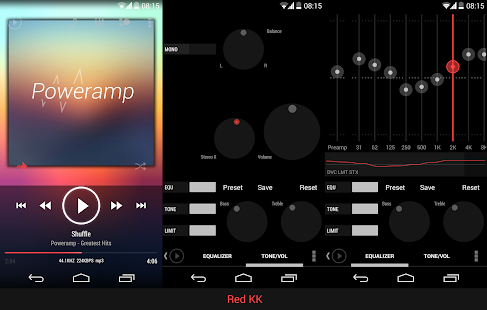 Poweramp skin ICS/JB Red - screenshot thumbnail