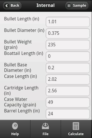 Handloader Calculations- screenshot
