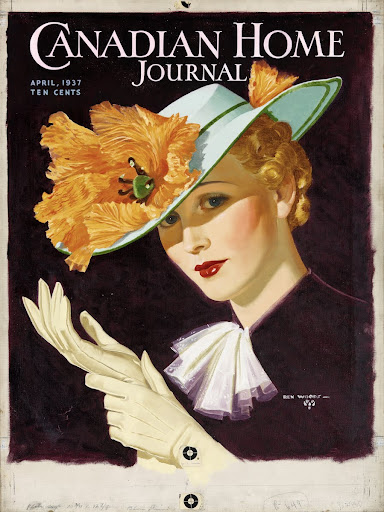[Woman in hat, donning gloves]