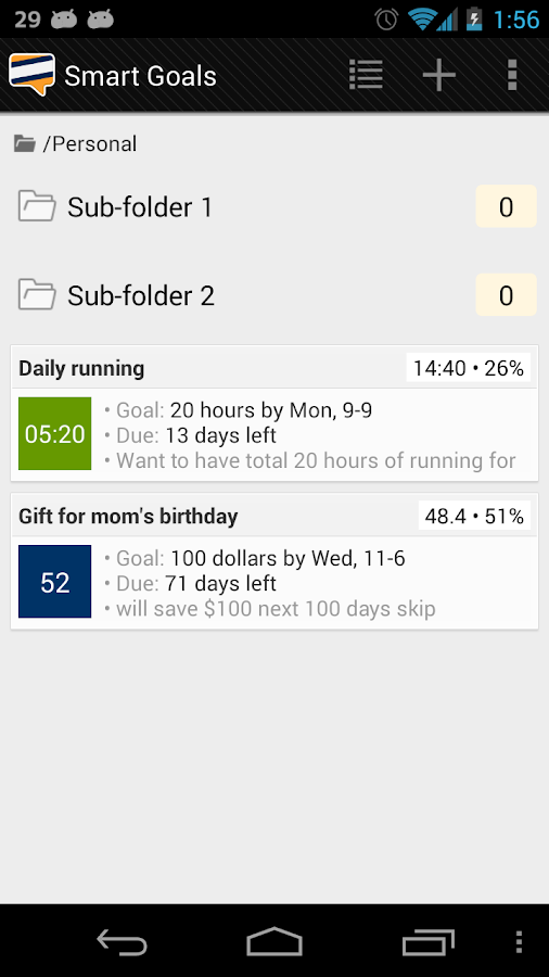 Goal tracker: SmartGoals Demo - screenshot