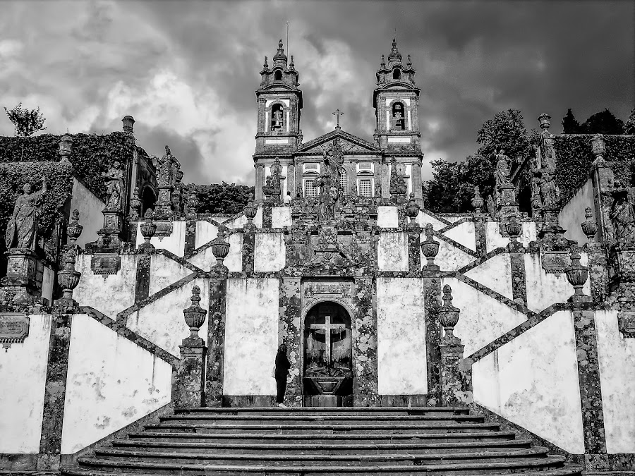 The Church on the Hill by Paulo Peres - Black & White Buildings & Architecture ( hill, baroque, bom jesus, stairs, church, braga,  )