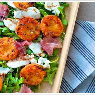 Grilled Apricot Salad with Mozzarella + Prosciutto